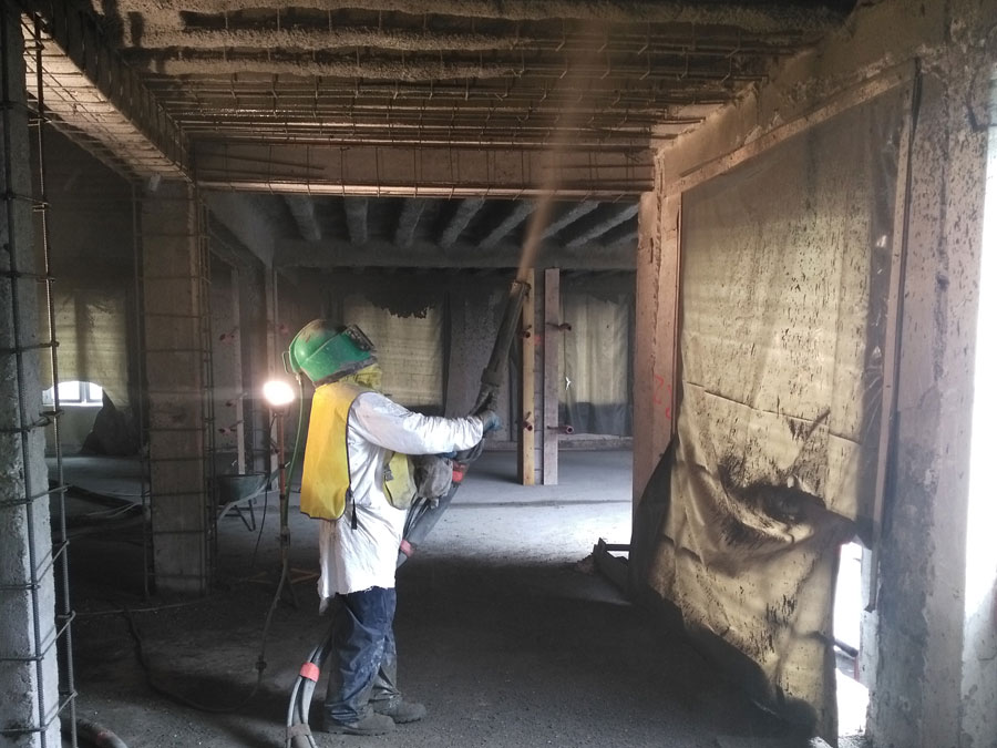 Renforcement de dalles en béton projeté
